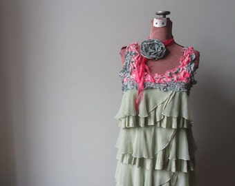 Mori Girl Ruffle Tank Top with Flower Rose Brooch, Womens Upcycled Clothing, Green Tattered Tunic, Boho Chic, Gypsy Soul, Altered Clothing
