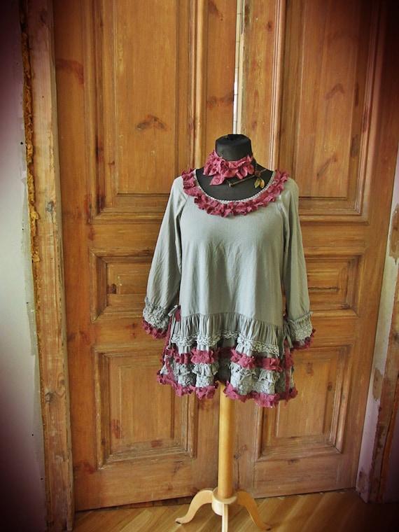 Upcycled Ruffled-Neck Dress