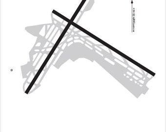 New York La Guardia - LGA - New York City - Airport Map Cafe Mount 8x12