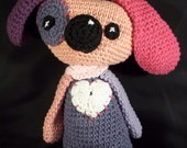 Hand Crocheted Puppy Dog -Pinks and Purples - Cotton Yarn