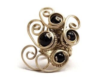 Black Ring, Wire Wrap Ring, Boho Ring, Gothic Ring, Elegant Ring, Black Onyx Ring, Multistone Ring, Black Stone Ring, Gemstone Ring