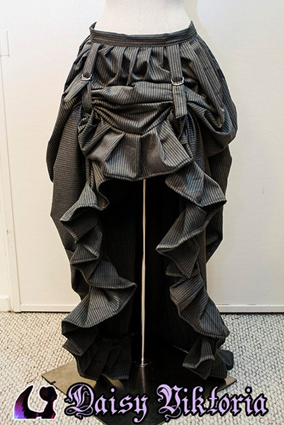 grey pinstripe high low bustle skirt ready to ship by
