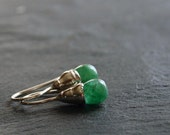 dainty sterling silver earrings with natural emerald drops - READY to SHIP