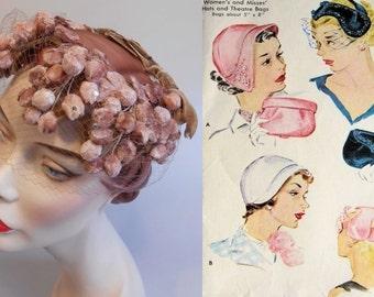 Bridal Party Walks Down the Aisle - Vintage 1950s LaRose Lilac Mauve Velvet Rosebuds Leaf Open Crown Hat Fascinator