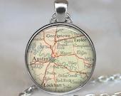 Austin, Texas map pendant, Austin map necklace, Austin map pendant, Austin pendant, Austin necklace keychain key fob