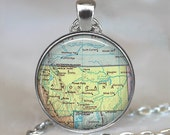 Montana map necklace, Montana map pendant, Montana necklace, Montana pendant, state map jewelry, Montana key chain key fob