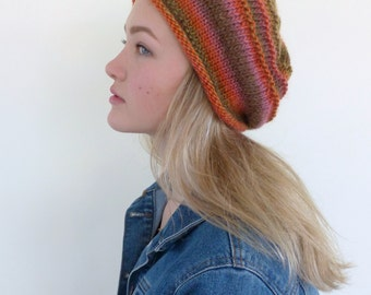 Hand knit beanie hat -  slouchy beanie -  knit slouch hat - colorful beret