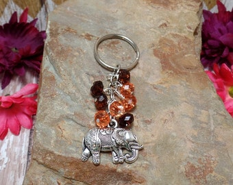 Orange & Brown Elephant Keychain Or Purse Charm - Ganesh - Clearance