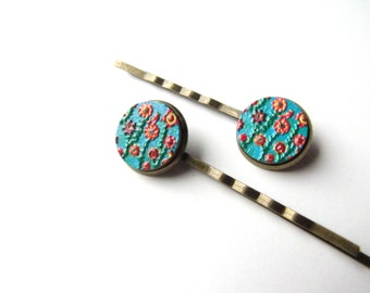 Aqua With Flowers Bobby Pins, Embossed Wood Floral Hair Pins