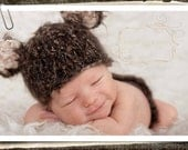 Bear Baby Hat for Newborn to Toddler- Fuzzy Furry Brown Newborn Props - Photography Prop - Animal Hat for Baby Boys