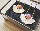 SALE - Brass Horizon Necklace | Half Moon w/ Fire Agate Sphere | Geometric Modern Jewelry