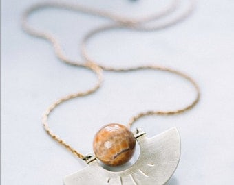 SALE - Brass Horizon Necklace | Hand-Sawed Half Moon w/ Fire Agate Sphere | Orange Peach Rust Stone