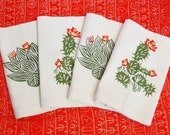 Set of Four Ivory Cotton Napkin with Hand Print Desert Cactus Design - Desert Landscape Table Linens