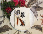 Set of Four Ivory Cotton Napkin with Hand Print Beetle / Insects / Bugs Design