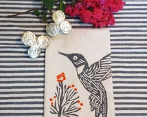 Taupe Flax Cotton Tea Towel Hand Towel with Hummingbird Bird Hand Block Print  with Orange Floral Blossom Accents