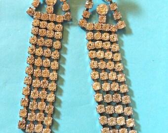 Glamorous Rhinestone Vintage Earrings Long Dangle Shoulder Dusters Vintage Jewelry
