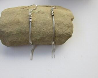 Silver Long Earrings, Sterling Silver Simple Earrings, Dainty Earrings, Silver Dangle Earrings, Everyday Earrings, Silver Chain