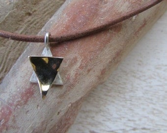 Gold Star of David Necklace on a Leather Chain, Gold Star with Leather Necklace, 9K Gold and Sterling Silver Star of David Necklace