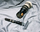 Steampunk victorian Men's Double Edge Safety razor shaving kit brush silvertip badger hair birthday father son Personalized  Ready2Ship