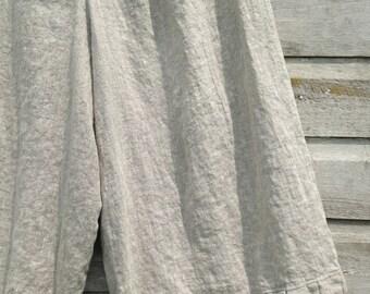 Washed Natural Linen Pants Bloomers Ruffle Bottom Pantaloons Rumpled Sweet Prairie Layering Ready To Ship Large XLarge