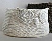 Custom Owl Basket Crocheted Bin Neutral Baby Room Decor Woodland Nursery Decor Home Organizer