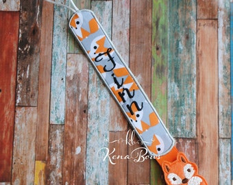 Fox Pacifier Clip: Baby Boy, Baby Girl, Personalized Binky Holder, Universal Paci Clip