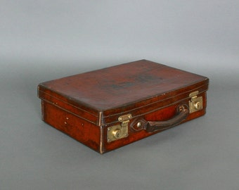 Vintage Leather Suitcase - Circa 1920's - Brown Leather Suitcase from England