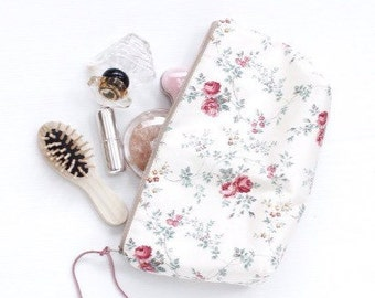 Wild Rose Floral Cosmetic Make Up Bag, Cosmetic Zipper Pouch, Makeup Bag, Travel Make Up Pouch, Cosmetic Case, Zippered Purse