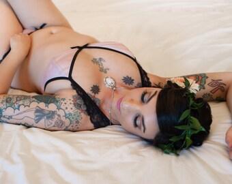 Blush and Black Lace 'Anastasia' Modern Romantic Lingerie Set Bralette and Bikini Cut Panties Handmade by Ohhh Lulu