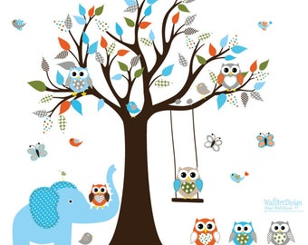 Children Wall decals, Nursery Wall Decals, Tree Wall Decals, Wall Decals, Vinyl Wall Decals, Tree Decals,Owl Tree Decals