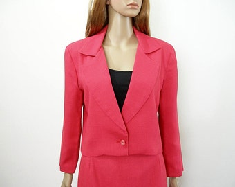 Vintage 1970s Skirt Suit Bright Rose Pink Handmade High Waist Pencil Skirt and Jacket / Extra Small