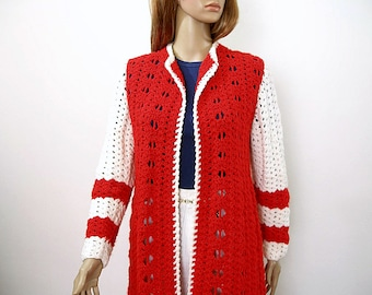 Vintage 1970s Sweater Coat Red White Hand Knit Duster Coat / Small