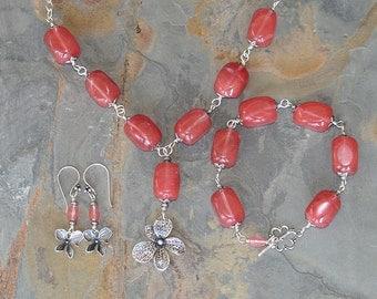 Pink Flower Jewelry Set, Strawberry Quartz Jewelry Set, Natural Stone Jewelry Set, Pink Jewelry Set, Silver Jewelry Set, Handmade Jewelry