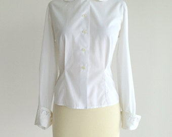 Vintage 1960s 1950s Blouse...JOANNA White Blouse