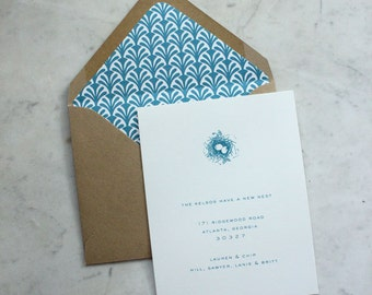 moving announcement / new address card / we've moved notice / change of address - nest (kraft paper and turquoise)