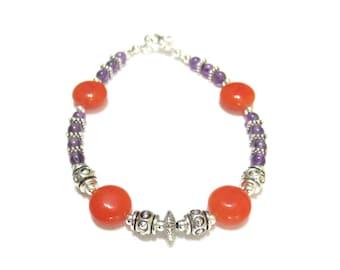 Clemson Tigers Bracelet, Graduation Gift, Dyed Orange Jasper &  Amethyst, Silver, Orange, Purple, Medium Beaded Bracelet, Handmade Jewelry