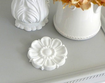 Salvaged Rosette Paperweight - Painted Victorian Iron Ornamental Salvage