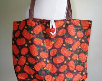 Harvest Tote Bag Fall Purse Pumpkins Plaid Lined Grocery Farmer's Market Reusable - Size Large