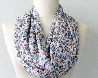 Summer scarf floral infinity scarf blue print scarf women scarves spring loop scarf  boho chic scarf mothers day gift for her fashion scarf