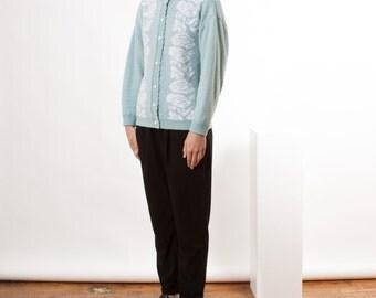 Mint Long Sleeve Jumper / Floral Pastel Cardigan / Crew Neck Jumper