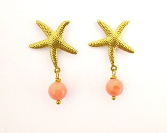 Gold Starfish Earrings Mermaid Jewelry Nautical Studs Sea Stars Pink Coral Charm Ocean Beachy Beach Accessories Ariel Womens Gift For Her