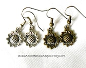 Sunflower Earrings Choose Bronze or Silver Finish Surgical Steel French Hooks SUPER SALE USA