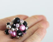 OUT OF TOWN - Classic Pink - Pink Black Silver Adjustable Cluster Ring - Light Pink Crystal Pearl Silver Cocktail Bauble Statement Ring