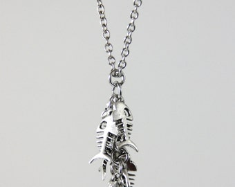 Fish Tales - Silver Fish Bone Skeleton Cluster Pendant Necklace Neutral Metal Casual Beach Ocean Earthy Layering Necklace
