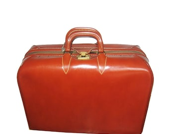 Vintage Rare Glad-O-Zip Top Grain Cow Hide Cognac Gold Zippered Multifunctional Unisex Overnight Leather Bag