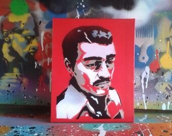 Jesus Malverde painting,stencil art,spray paint art,canvas,wall art,religion,Mexico,folk ,generous bandit,angel of poor,narco-saint,Sinaloa