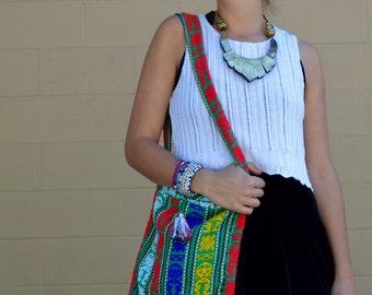 Vintage NATIVE Ethnic Tribal COLORFUL Print Shoulder Bag with Mayan Deity Design