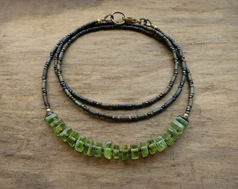 Dainty Green Peridot Necklace, rustic everyday August birthstone jewelry with bright green peridot square heishi beads