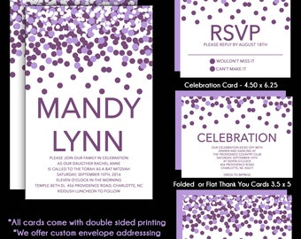 Lavender Purple and White Bat Mitzvah Invitations - RSVP Reply Card - Celebration Card - Custom Addressing - Thank You Note Card