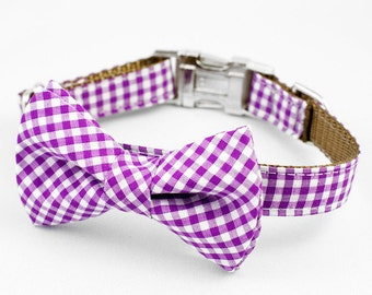 Bow Tie Dog Collar - Purple Gingham